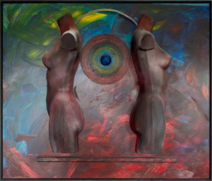 Three dimensional painting on wood called Together we'll stand